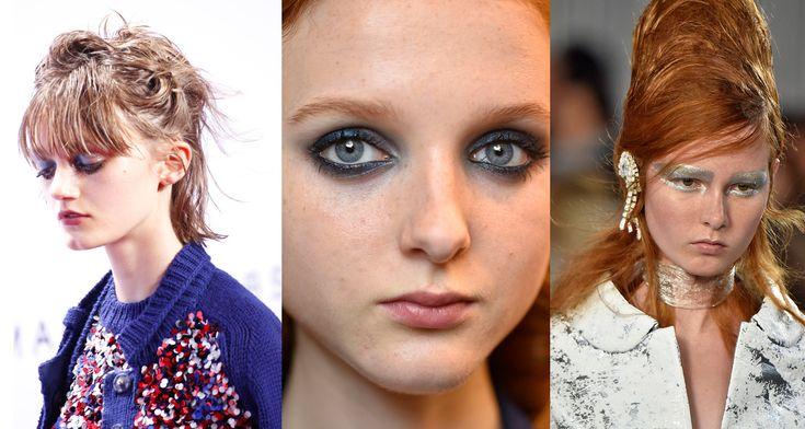 Olhos brilhantes e metalizados na Marc Jacobs, Sonia Rykiel e Margiela