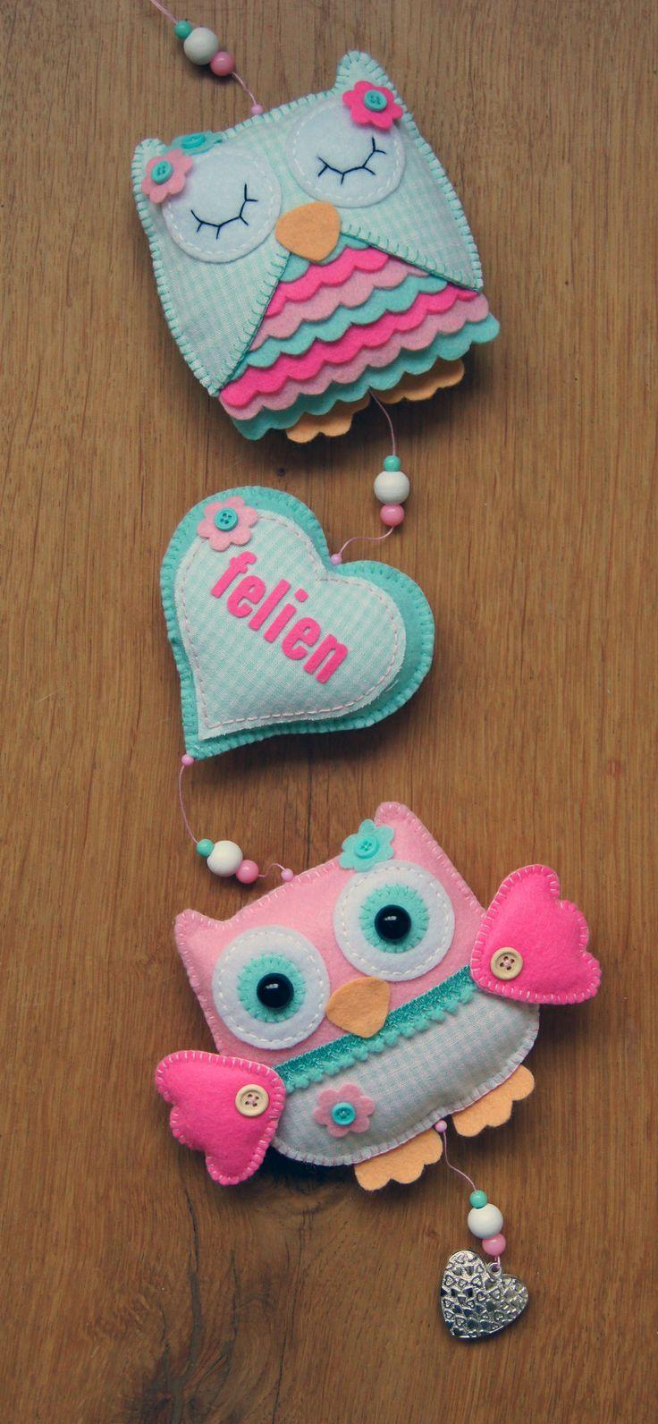 Handmade by JoHo - Uilenslinger mint/roze - owls felt