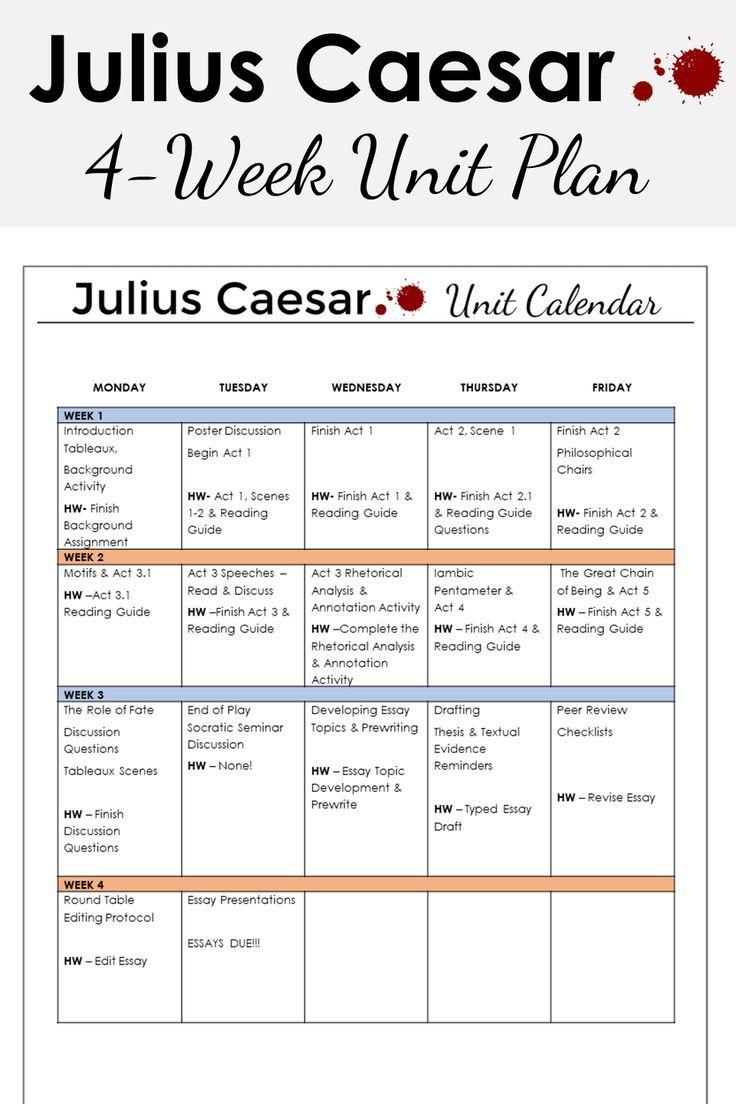 Juliu Caesar Unit Plan Lesson High School Literature Teaching Plans Romeo And Juliet Act 3 Scene 2 Worksheet Answers