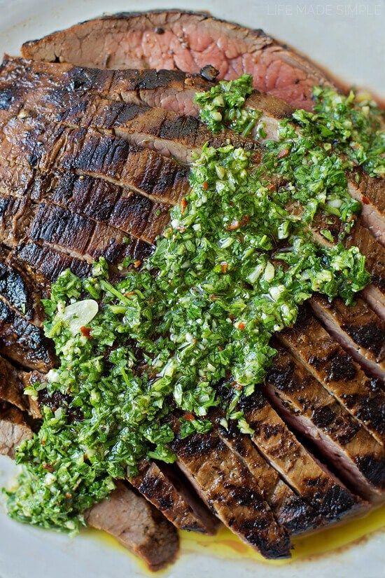 Grilled Flank Steak + 1 Minute Chimichurri Sauce
