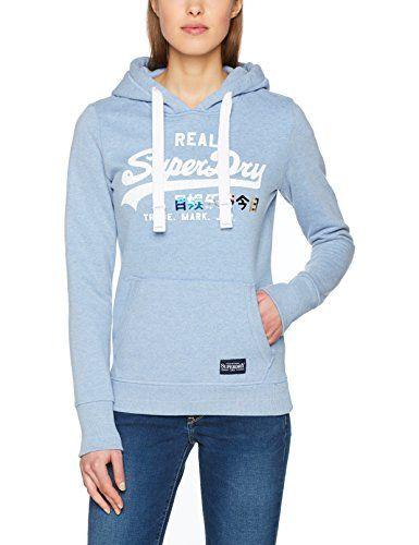 Superdry Vntge Logo Foil Pop Entry Sweat àCapuche Femme Bleu (Cali Blue  Marl Aiv) X-Small   Sweats à capuche pour femme   Pinterest e87ebb4bc6c6
