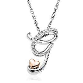 60a63399e9 Diamond G Initial Pendant in Sterling Silver   14K Rose Gold ...