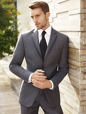 Moore's - Black by Vera Wang Wedding Modern Look 7 This look features a BLACK by Vera Wang Two-Button Grey Super 120s Notch Lapel (1170)  The ensemble also includes: -    Grey Flat-Front Pant (2170) -   White Microfibre Point Collar Shirt (5770) -    Black Vest (6350PRBLK) and Euro Tie (7350PRBLK) -    White/Silver Stud & Cuff Link Set (3103WS) -    Black Round-Toe Shoe (4840)