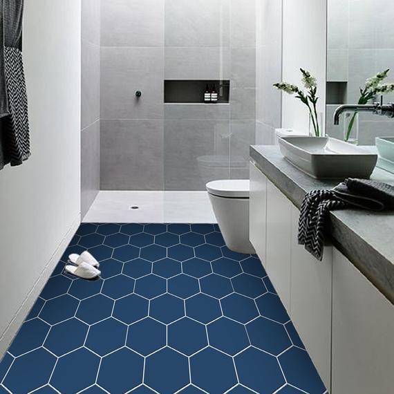 Vinyl Floor Tile Sticker Panel Peel And Stick Decal Hexa Admiral Blue In 2020 Vinyl Flooring Floor Stickers Flooring