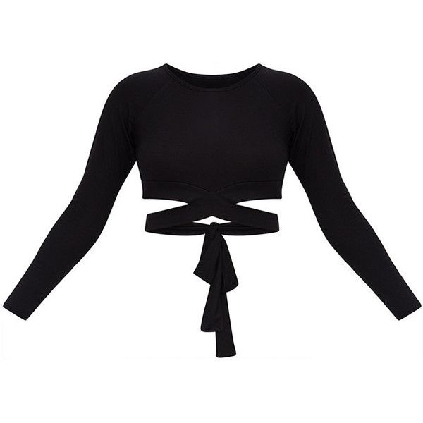 Black Cross Front Longsleeve Crop Top ($18) ❤ liked on Polyvore featuring tops, cut-out crop tops, long sleeve jersey, long sleeve crop top, jersey top and long sleeve tops