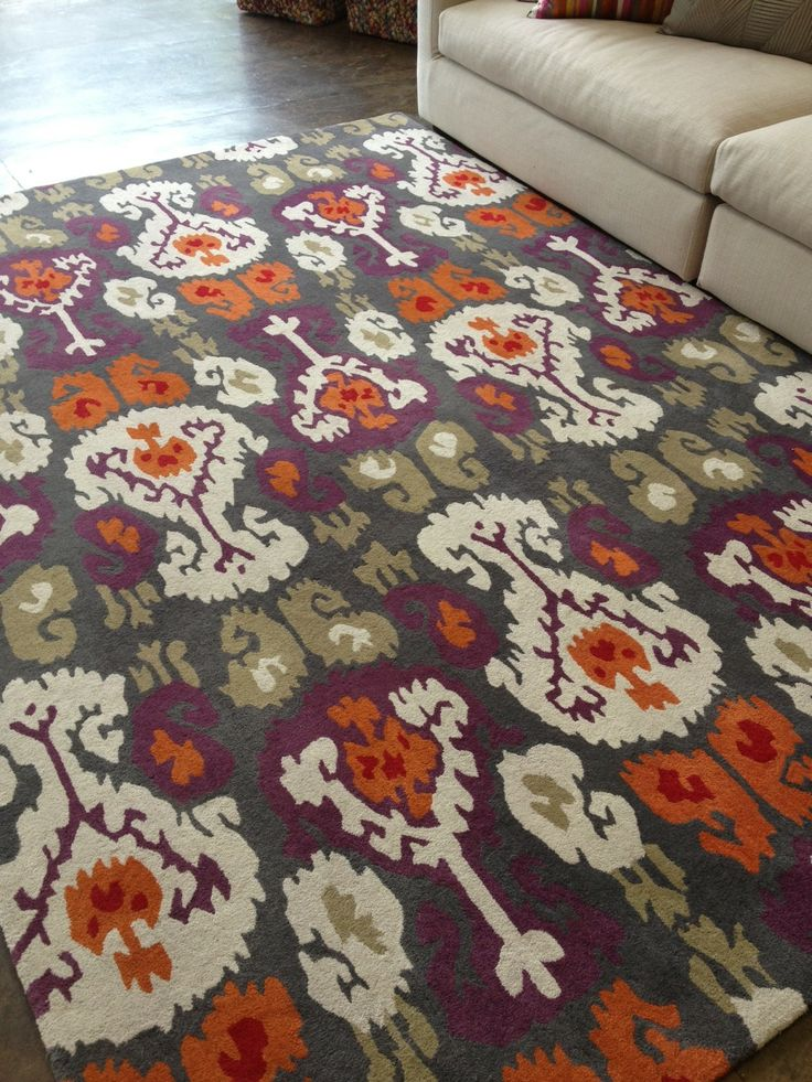 A custom coloured Ikat Motifs rug, what a great colour combination!! #TheRugCollection