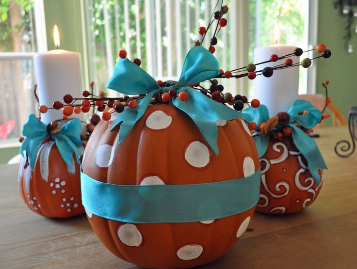 Thanksgiving Centerpiece-Painted Pumpkins by Laura Bray