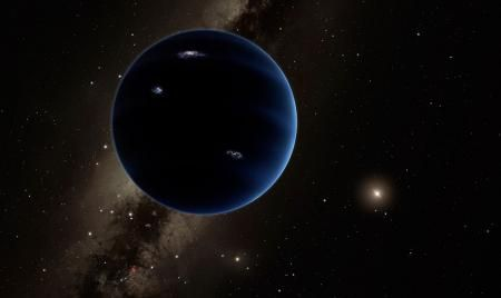 This artistic rendering shows the distant view from Planet Nine back towards the sun. The planet is thought to be gaseous, similar to Uranus and Neptune. Hypothetical lightning lights up the night side. Credit: Caltech/R. Hurt (IPAC)