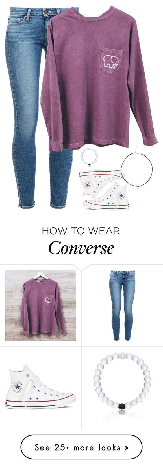 """""""Want this shirt!!~ how's the new setup?"""" by meljordrum on Polyvore featuring Converse, Paige Denim and Everest:"""