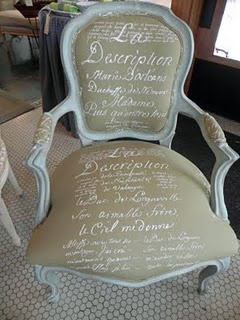 "French Script Chair... I love the idea of ""script"" upholstery, but maybe on a more modern chair.  In any case, I love this look."