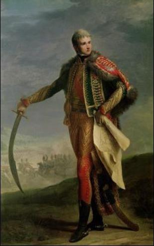 Portrait de Jean Lannes, duc de Montebello (15 juin 1808), Maréchal de France (en 1804). Le maréchal porte ici son uniforme de colonel-général, rouge, couleur typique des régiment suisses. Peinture de Jean-Charles Niçaise Perrin.