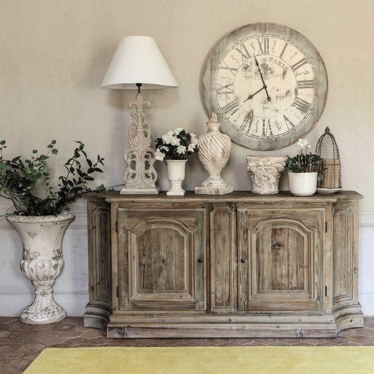 Lampe en bois et abat jour en coton beige h 98 cm perrine - Maison du monde luminaire ...