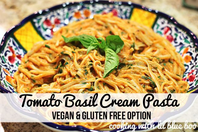 Tomato basil cream pasta. The cream is from cashews so with the right pasta could be Daniel fast friendly.