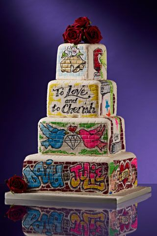Totally awesome #Graffiti #Wedding Cake - We love and had to share! Great #CakeDecorating!