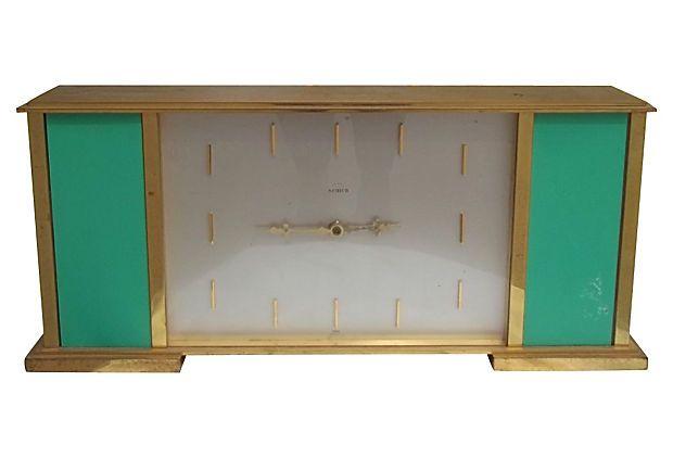 Emerald Green and Brass Midcentury Clock : : OneKingsLane.com