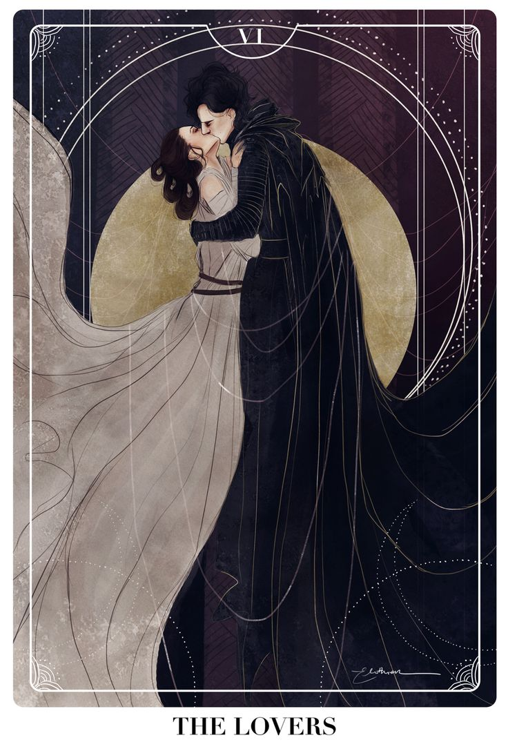 elithien: Reylo Tarot Cards: THE LOVERS  Well, cat's out of the bag, here's my newest project! I'll be doing a couple more of these tarot cards ft. reylo because god I love doing these.