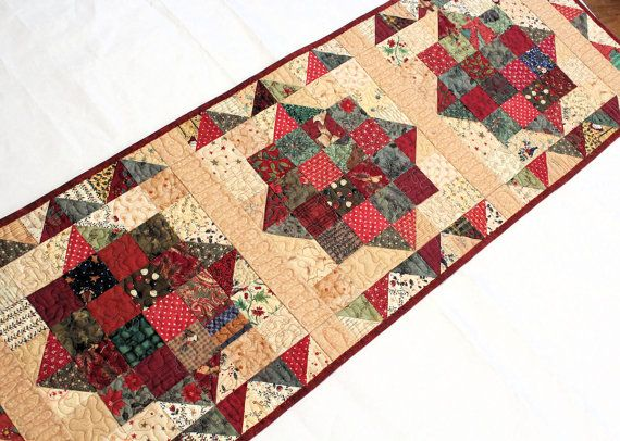 Scrappy Country Christmas Table Runner Quilt by QuiltSewPieceful