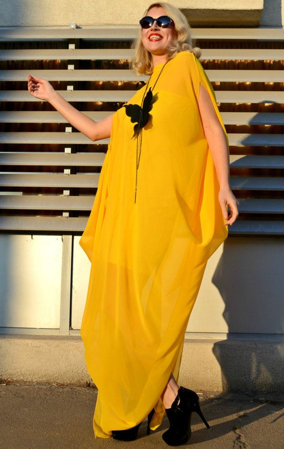 Extravagant Yellow Kaftan / Yellow Maxi Dress / Extravagant Chiffon Dress / Elegant Plus Size Kaftan TDK161 / SPRING 2016