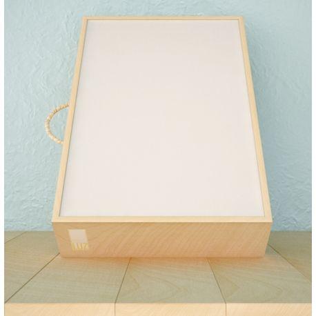 Caja de luz con marco de madera de 60x60x9 cm