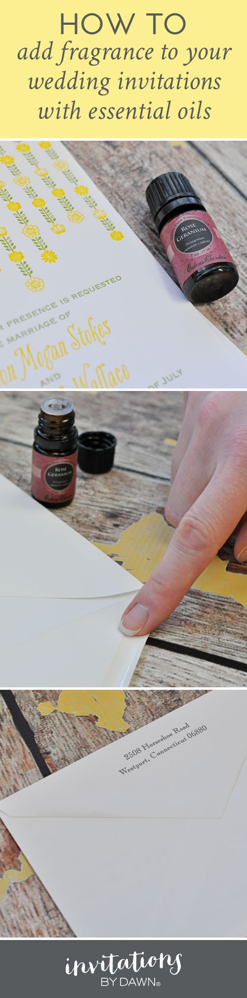 Invitations by Dawn shows brides how to add fragrance to wedding invitations by using essential oils.