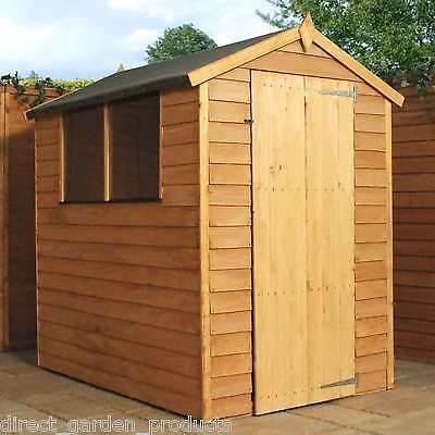 6x4 garden shed single door apex wooden sheds overlap clad 6ft x 4ft