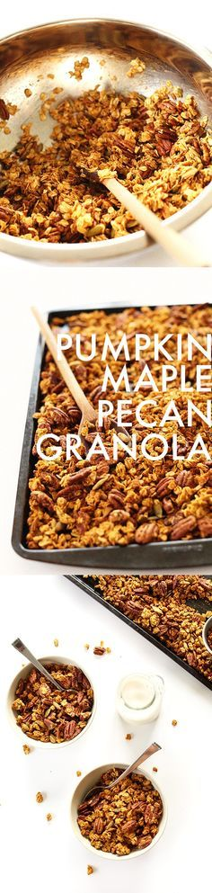 """Pumpkin Maple Granola! Sounds delicious ! """"Amazing 30-minute, easy Pumpkin Maple Granola loaded with pecans, pumpkin seeds and sweetened with maple syrup!"""" #vegan #glutenfree ( sugar is optional and can be replaced with more maple syrup) http://minimalistbaker.com/pumpkin-maple-pecan-granola/?utm_content=buffer551f5&utm_medium=social&utm_source=pinterest.com&utm_campaign=buffer#_a5y_p=2489259"""