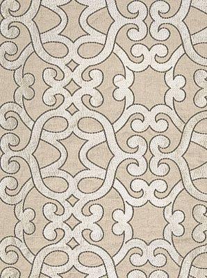 DecoratorsBest - Detail1 - Sch 65181 - Amboise Linen Embroidery - Greige - Fabrics - DecoratorsBest