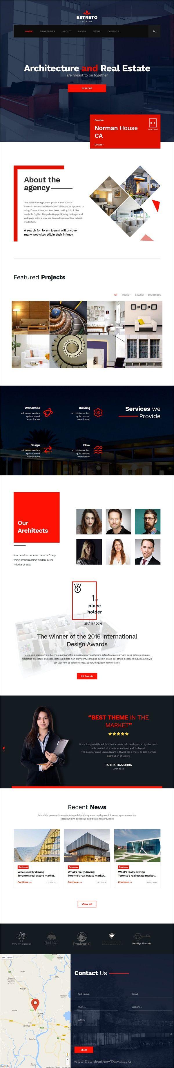 Estreto real estate property architecture construction html5 template webdesignconstruction companieshtml