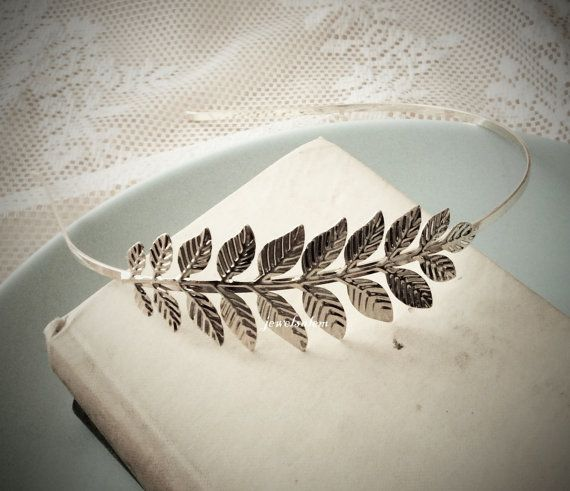 Silver Headband For Wedding Bride Festival Bridal Headpiece with Leaf Rustic Leaves Branch Game of Throne Style Romantic Woodland Modern