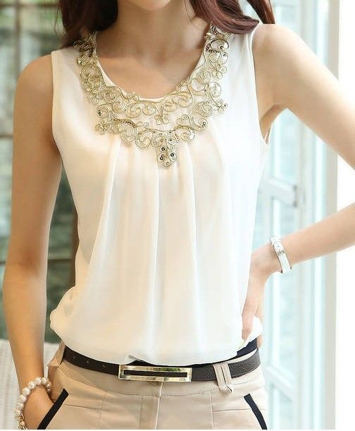 2014 New Fashion Summer Blouses Sleeveless Sexy Vest Harness Basic Shirt Women Black White Chiffon Tops Shirts Size S M L XL XXL