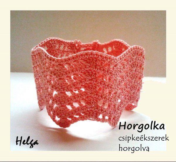 Helga - rózsaszín horgolt karkötő