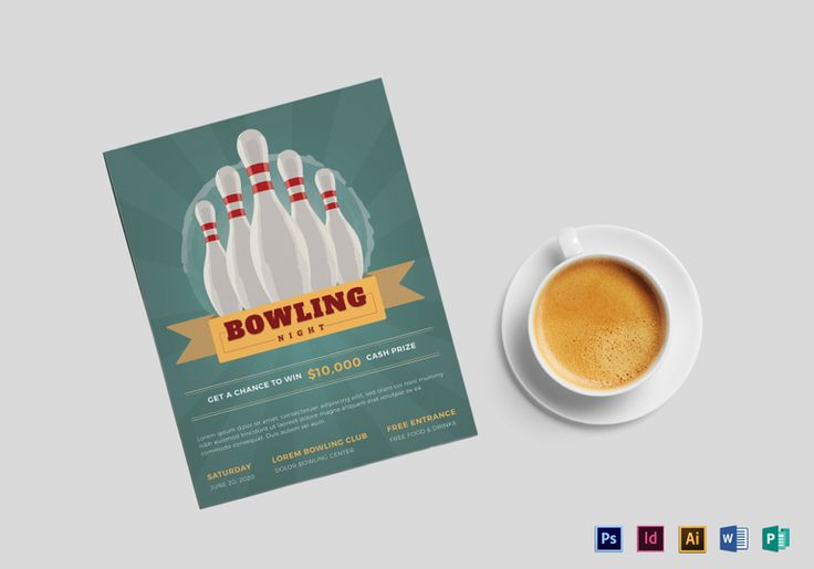 Super Bowling Flyer Design Flyer Templates Pinterest Flyer - bowling flyer template