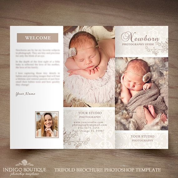 Newborn Photography Trifold Brochure Template - Client Welcome Guide - Flyer- Photography Pricing Guide - Price List -INSTANT DOWNLOAD ID224