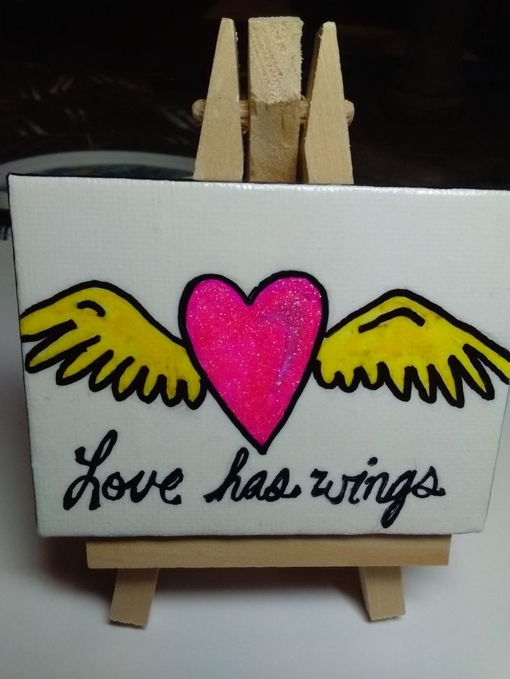 mixed media miniature painting, heart art, love has wings art, love canvas, heart paintibg by SeaMySoul on Etsy