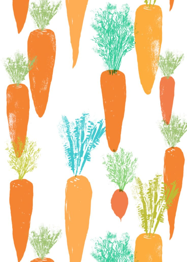carrot fabric/ wallpaper / wrapping paper pattern design by canigrin vegetable kitchen tea towel