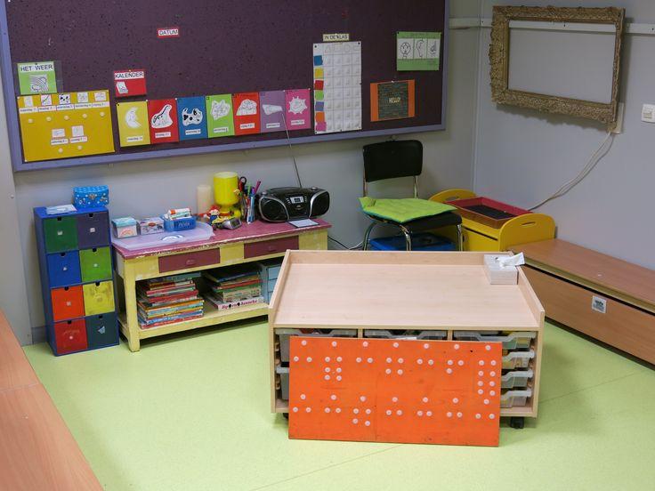 Onthaalkring / constructiehoek Het oranje bord is het keuzebord (de hoekjes hangen er nog niet op)