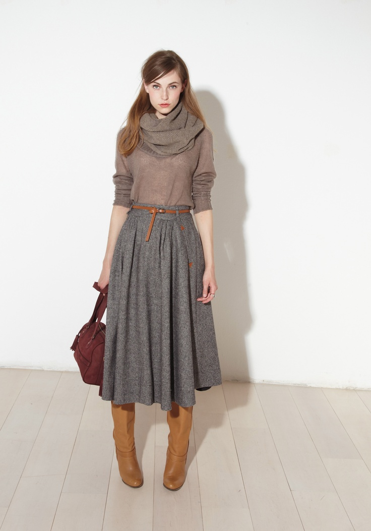 sweater, skirt, belt