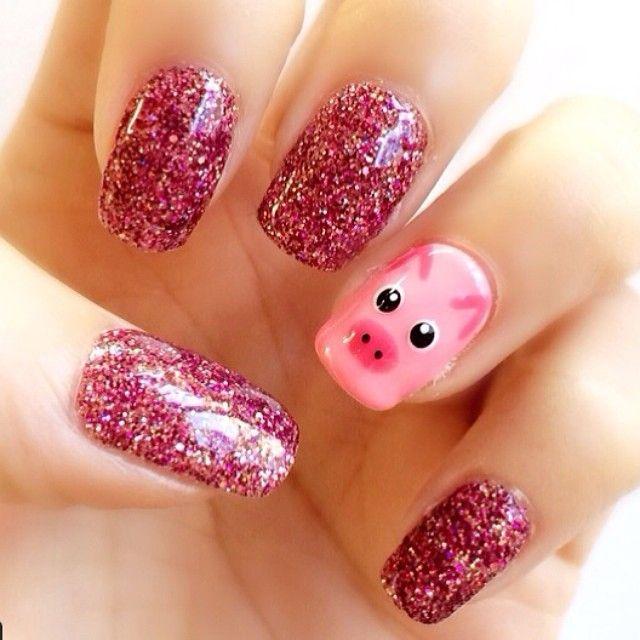 Glitter pig nail art