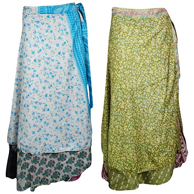 Bohemian Art Silk Sari Skirt Double Layer Reversible Skirt Handmade Vintage Sari Skirt Women/'s Long Magic Wrap Skirt