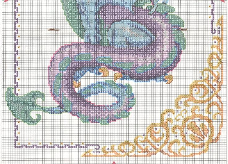 Mythical blue and purple dragon with fancy border full free cross stitch - Page 2