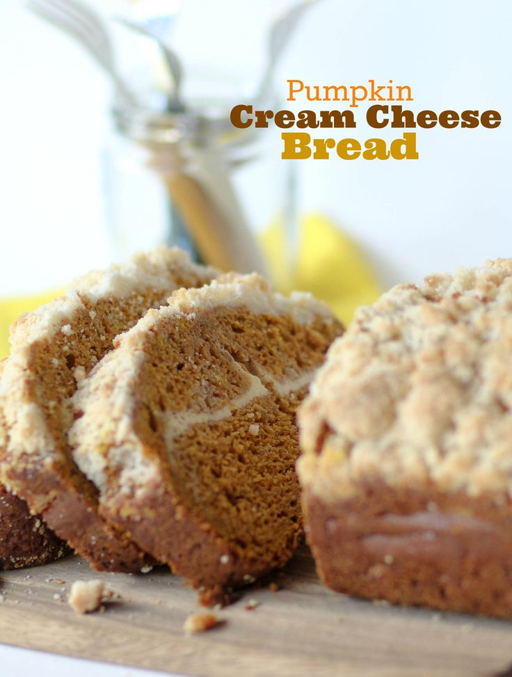 Pumpkin Cream Cheese Bread with Crumb Topping - This recipe makes two loaves, so you can make one and give one to a friend!! Or eat them both selfishly, which is what I do.