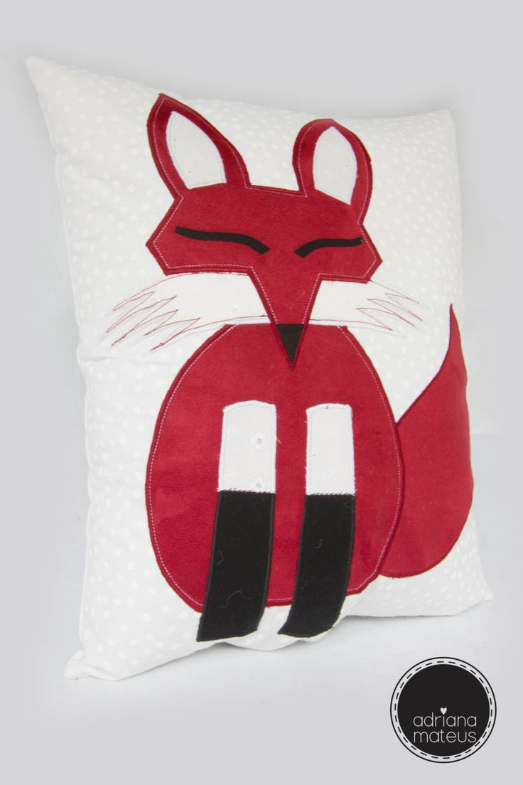 pillow fox , decorative, fabric, home , handmade by ADRIANAMATEUS on Etsy