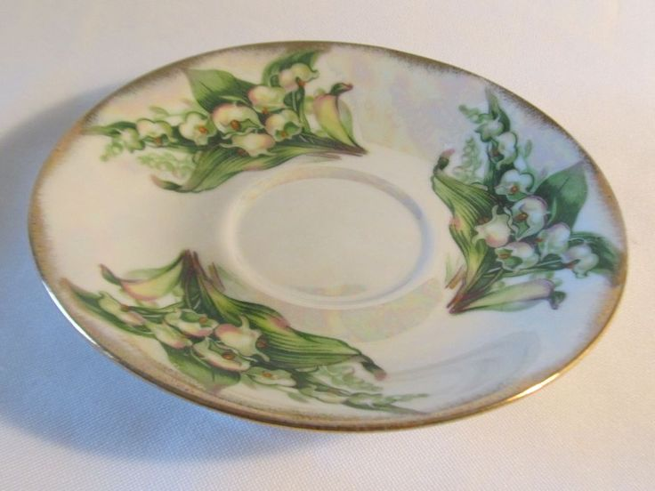 Vintage Lustre ware Iridescent Porcelain Plate Gild Gold Lily of Valley Plate #CollectorPlate