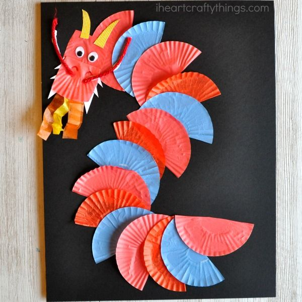 Ordinary New Craft Ideas For Kids Part - 14: Awesome Cupcake Liner Dragon Craft