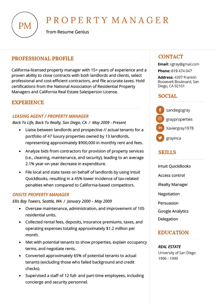 Property Manager Resume Example & Writing Tips Manager