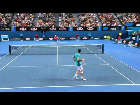"""Murray vs. Llodra, Australian Open 2012  Redefines the encouraging, """"One point at a time."""""""