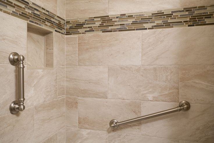 24 Mosaic Bathroom Ideas Designs: 12 X 24 Niche Grab Bar Stone Glass