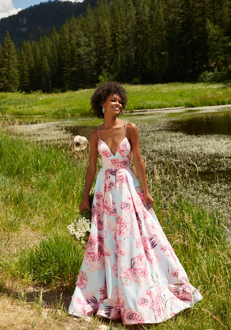 Floral Printed Taffeta A-Line Prom Gown with Deep-V Neckline and Delicate Beading. Colors Available: Pink Floral, Blue Floral