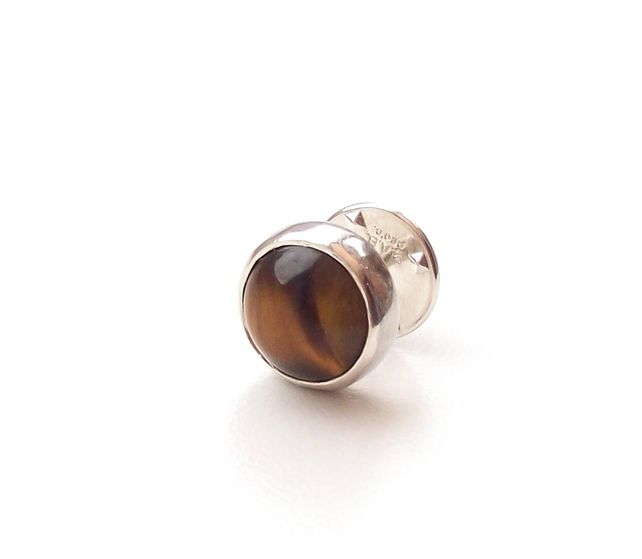 Tie Pin Round Sterling Silver Gold Tigers Eye £20.00