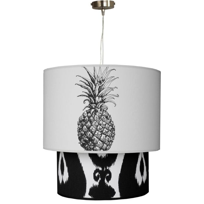 Milano tiered pendant - choose your fabric from pineapple to passionflower and everything in between, this tiered pendant light is a chic way to add new prints to your home. Visit www.hardtofind.com.au #gift #home #bright #fruit #tropical hard to find monochrome style